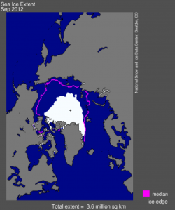 September Arctic Sea Ice Low 2012