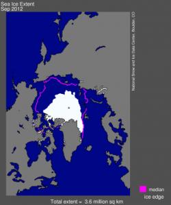 September Arctic Sea Ice Low 2012