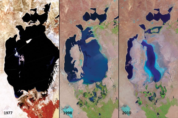 Landsat images show the Aral Sea in central Asia shrinking significantly from 1977 to 2010 because of water diversion for agricultural use. Images provided by USGS EROS Data Center. Image compilation prepared for Nature.