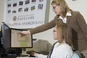 Senior geology major Samantha Taylor receives instruction from Dr. Christina Hupy at the University of Wisconsin Eau Claire's Geography and Anthropology Department. Image courtesy of University of Wisconsin Eau Claire.