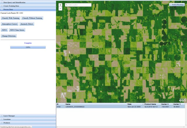Displaying an NDVI Result from an Image Service in a Thin Client